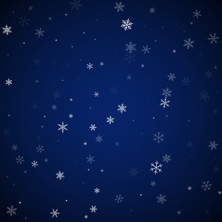 Sparse snowfall Christmas background. Subtle flying snow flakes and stars on dark blue night background. Alive winter silver snowflake overlay template. Bewitching vector illustration.