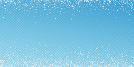 Amazing falling stars Christmas background. Subtle flying snow flakes and stars on blue transparent background. Amusing winter silver snowflake overlay template. Mind-blowing vector illustration.