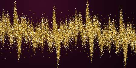 Gold glitter luxury sparkling confetti. Scattered small gold particles on red maroon background. Beauteous festive overlay template. Dramatic vector illustration.