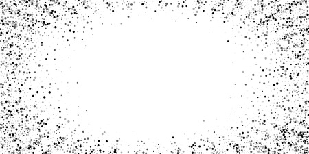 Scattered dense balck dots. Dark points dispersion on white background. Breathtaking grey spots dispersing overlay template. Quaint vector illustration.