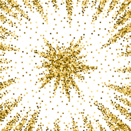 Gold glitter luxury sparkling confetti. Scattered small gold particles on white background. Actual festive overlay template. Artistic vector illustration.