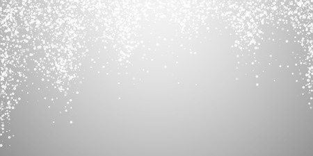 Amazing falling snow Christmas background. Subtle flying snow flakes and stars on light grey background. Admirable winter silver snowflake overlay template. Majestic vector illustration.