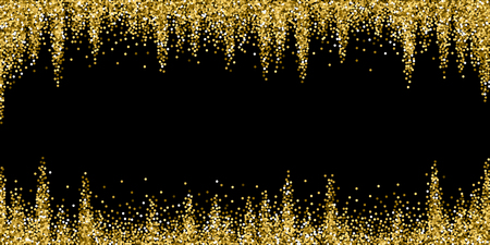 Round gold glitter luxury sparkling confetti. Scattered small gold particles on black background. Bewitching festive overlay template. Cool vector illustration.