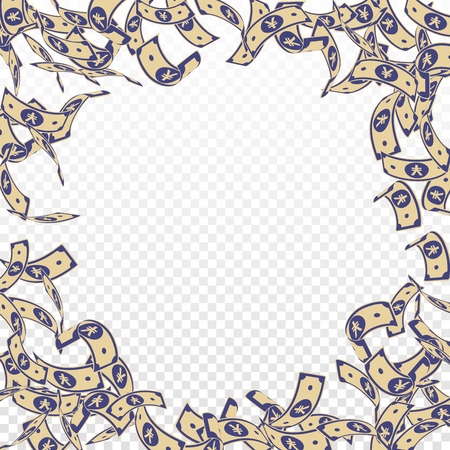 Chinese yuan notes falling. Floating CNY bills on transparent background. China money. Ecstatic vector illustration. Astonishing jackpot, wealth or success concept.