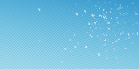 Sparse snowfall Christmas background. Subtle flying snow flakes and stars on blue transparent background. Artistic winter silver snowflake overlay template. Indelible vector illustration.