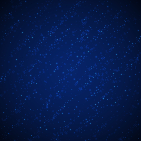 Beautiful glowing snow Christmas background. Subtle flying snow flakes and stars on dark blue night background. Adorable winter silver snowflake overlay template. Trending vector illustration.