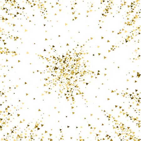 Confettis étincelants de luxe de triangles d'or. Petites particules d'or dispersées sur fond blanc. Modèle de superposition festive réelle. Illustration vectorielle captivante. Vecteurs