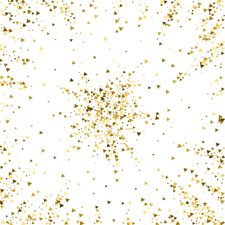 Coriandoli scintillanti di lusso di triangoli d'oro. Piccole particelle d'oro sparse su sfondo bianco. Modello di sovrapposizione festivo effettivo. Illustrazione vettoriale accattivante. Vettoriali