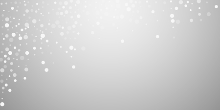 White dots Christmas background. Subtle flying snow flakes and stars on light grey background. Authentic winter silver snowflake overlay template. Unequaled vector illustration.