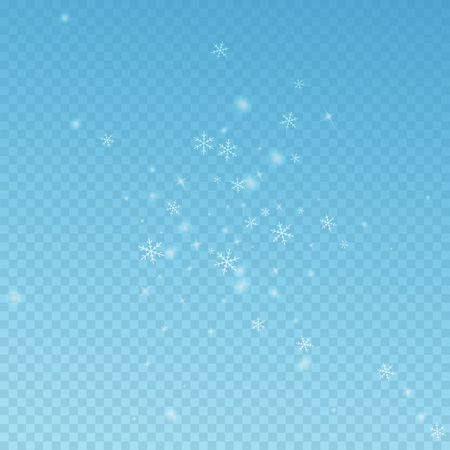 Sparse glowing snow Christmas background. Subtle flying snow flakes and stars on blue transparent background. Admirable winter silver snowflake overlay template. Bizarre vector illustration.