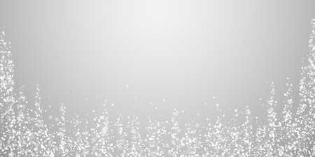 Magic stars sparse Christmas background. Subtle flying snow flakes and stars on light grey background. Authentic winter silver snowflake overlay template. Bewitching vector illustration.