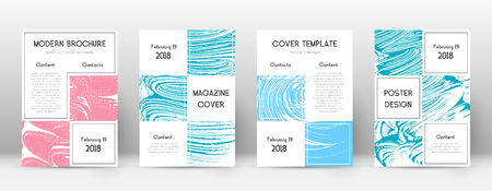 Cover page design template. Business brochure layout. Bewitching trendy abstract cover page. Pink and blue grunge texture background. Enchanting poster.