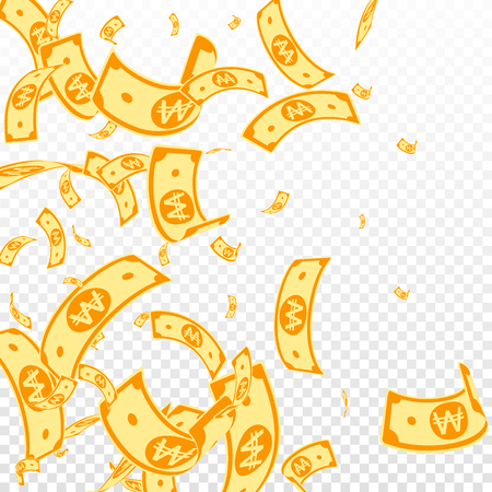 Korean won notes falling. Random WON bills on transparent background. Korea money. Dazzling vector illustration. Magnificent jackpot, wealth or success concept. Illustration