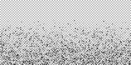 Scattered dense balck dots. Dark points dispersion on transparent background. Breathtaking grey spots dispersing overlay template. Exotic vector illustration. Vetores