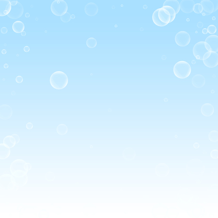 Random soap bubbles abstract background. Blowing bubbles on winter sky background. Bold soapy foam overlay template. Ravishing vector illustration.