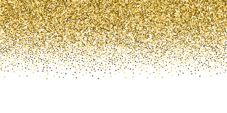 Round gold glitter luxury sparkling confetti. Scattered small gold particles on white background. Breathtaking festive overlay template. Lively vector illustration. Ilustração