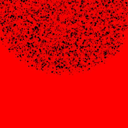 Scattered dense balck dots. Dark points dispersion on red background. Bizarre grey spots dispersing overlay template. Shapely vector illustration.