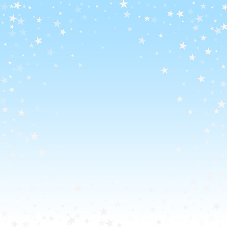 Random falling stars Christmas background. Subtle flying snow flakes and stars on winter sky background. Beauteous winter silver snowflake overlay template. Classic vector illustration. 向量圖像