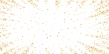 Gold stars luxury sparkling confetti. Scattered small gold particles on white background. Charming festive overlay template. Appealing vector illustration.