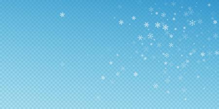 Sparse snowfall Christmas background. Subtle flying snow flakes and stars on blue transparent background. Artistic winter silver snowflake overlay template. Indelible vector illustration. Ilustração