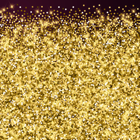 Sparkling gold luxury sparkling confetti. Scattered small gold particles on red maroon background. Adorable festive overlay template. Memorable vector illustration.