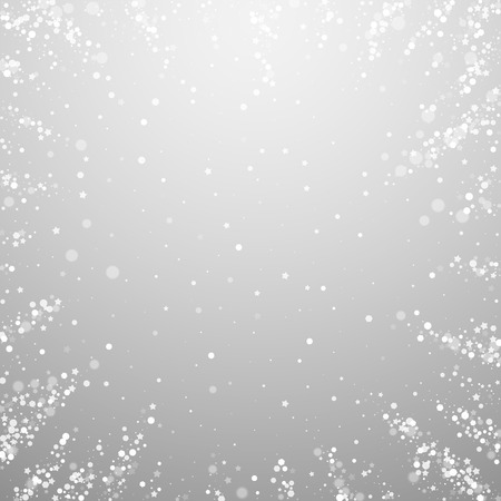 Magic stars sparse Christmas background. Subtle flying snow flakes and stars on light grey background. Amazing winter silver snowflake overlay template. Lively vector illustration.