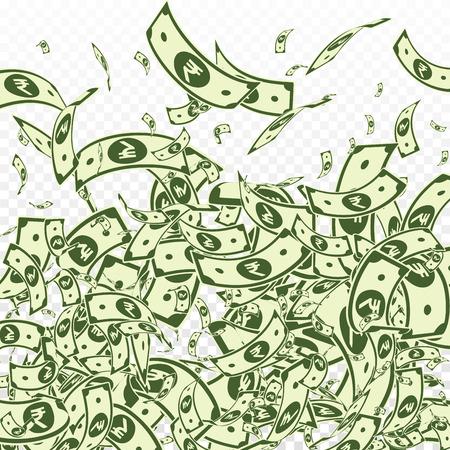 Indian rupee notes falling. Messy INR bills on transparent background. India money. Brilliant vector illustration. Delightful jackpot, wealth or success concept. Illustration