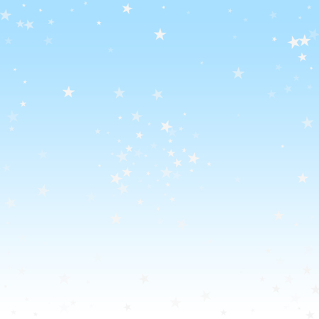 Random falling stars Christmas background. Subtle flying snow flakes and stars on winter sky background. Authentic winter silver snowflake overlay template. Favorable vector illustration.