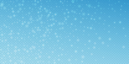 Sparse glowing snow Christmas background. Subtle flying snow flakes and stars on transparent blue background. Alive winter silver snowflake overlay template. Appealing vector illustration.