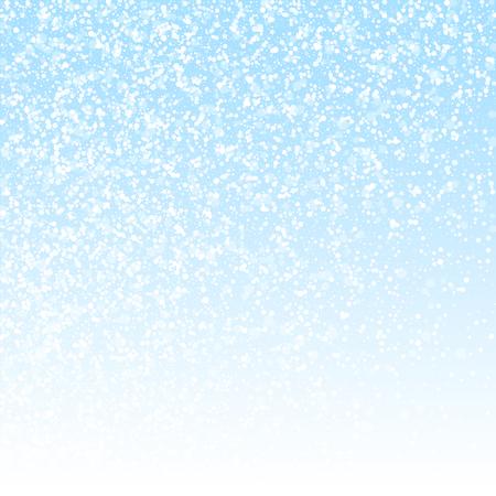 Fondo de Navidad de estrellas mágicas. Sutiles copos de nieve voladores y estrellas sobre fondo de cielo de invierno. Impresionante plantilla de superposición de copo de nieve de plata de invierno. Ilustración vectorial deslumbrante.