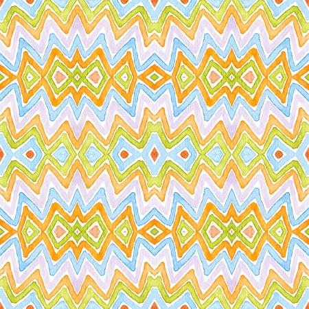Colorful Geometric Watercolor. Dazzling Seamless Pattern. Hand Drawn Stripes. Brush Texture. Good-looking Chevron Ornament. Fabric Cloth Swimwear Design Wallpaper Wrapping. Stock fotó