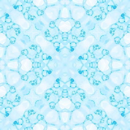 Blue seamless pattern. Artistic delicate soap bubbles. Lace hand drawn textile ornament. Kaleidoscope mandala lingerie print. Authentic abstract watercolor background. Stock Photo