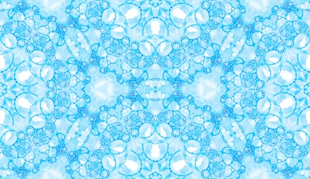 Blue seamless pattern. Astonishing delicate soap bubbles. Lace hand drawn textile ornament. Kaleidoscope mandala lingerie print. Fair abstract watercolor background. Stock Photo