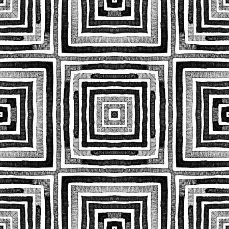 Dark black and white Geometric Watercolor. Dazzling Seamless Pattern. Hand Drawn Stripes. Brush Texture. Quaint Chevron Ornament. Fabric Cloth Swimwear Design Wallpaper Wrapping.