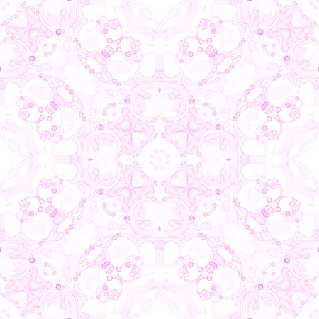 Pink seamless pattern. Appealing delicate soap bubbles. Lace hand drawn textile ornament. Kaleidoscope mandala lingerie print. Adorable abstract watercolor background.