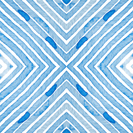 Blue Geometric Watercolor. Curious Seamless Pattern. Hand Drawn Stripes. Brush Texture. Fantastic Chevron Ornament. Fabric Cloth Swimwear Design Wallpaper Wrapping.