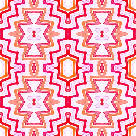 Pink red Geometric Watercolor. Delicate Seamless Pattern. Hand Drawn Stripes. Brush Texture. Quaint Chevron Ornament. Fabric Cloth Swimwear Design Wallpaper Wrapping.