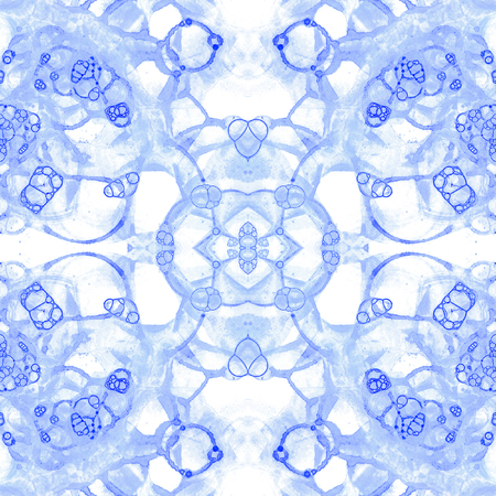 Violet seamless pattern. Amazing delicate soap bubbles. Lace hand drawn textile ornament. Kaleidoscope mandala lingerie print. Flawless abstract watercolor background. Stock Photo