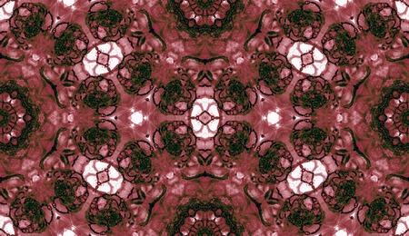 Red seamless pattern. Attractive delicate soap bubbles. Lace hand drawn textile ornament. Kaleidoscope mandala lingerie print. Comely abstract watercolor background. 免版税图像
