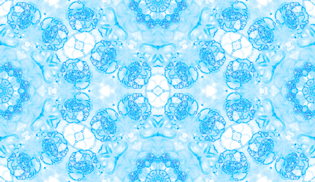 Blue seamless pattern. Attractive delicate soap bubbles. Lace hand drawn textile ornament. Kaleidoscope mandala lingerie print. Charming abstract watercolor background. 스톡 콘텐츠
