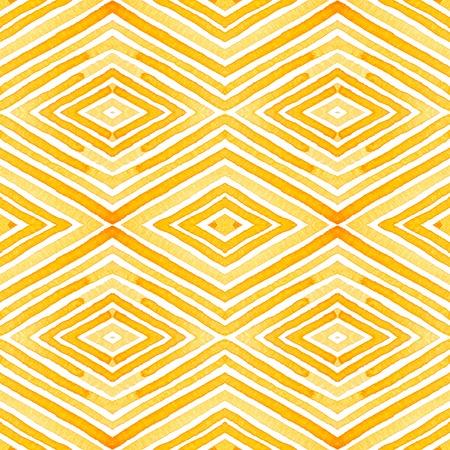 Orange Geometric Watercolor. Delicate Seamless Pattern. Hand Drawn Stripes. Brush Texture. Flawless Chevron Ornament. Fabric Cloth Swimwear Design Wallpaper Wrapping.