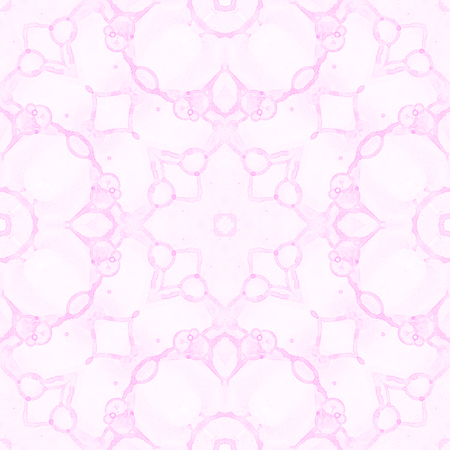 Pink seamless pattern. Artistic delicate soap bubbles. Lace hand drawn textile ornament. Kaleidoscope mandala lingerie print. Curious abstract watercolor background. Banque d'images