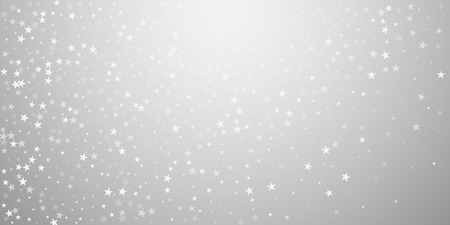 Random falling stars Christmas background. Subtle flying snow flakes and stars on light grey background. Beautiful winter silver snowflake overlay template. Extraordinary vector illustration.
