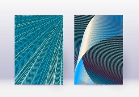 Cover design template set. Abstract lines modern brochure layout. Red vibrant halftone gradients on white blue background. Fascinating brochure, catalog, poster, book etc. Ilustração