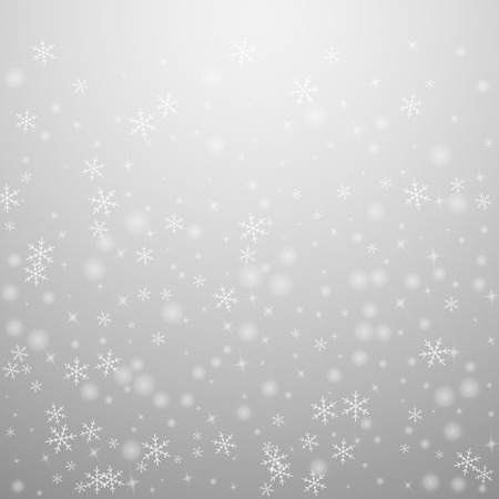 Fondo de Navidad de nieve brillante escasa. Sutil copos de nieve voladores y estrellas sobre fondo gris claro. Seductora plantilla de superposición de copo de nieve de plata de invierno. Ilustración de vector agradable.