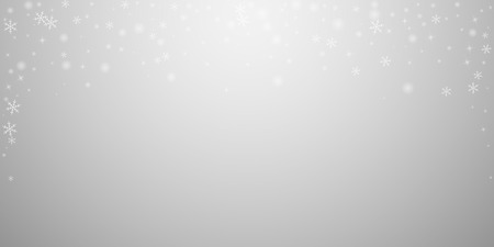 Sparse glowing snow Christmas background. Subtle flying snow flakes and stars on light grey background. Attractive winter silver snowflake overlay template. Graceful vector illustration. Ilustração