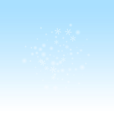 Sparse glowing snow Christmas background. Subtle flying snow flakes and stars on winter sky background. Beauteous winter silver snowflake overlay template. Fascinating vector illustration. Vektorové ilustrace