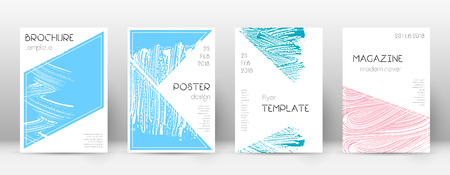 Cover page design template. Triangle brochure layout. Classy trendy abstract cover page. Pink and blue grunge texture background. Fabulous poster.