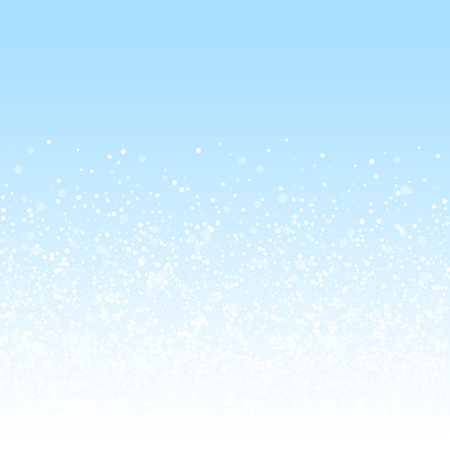 Magic stars Christmas background. Subtle flying snow flakes and stars on winter sky background. Awesome winter silver snowflake overlay template. Majestic vector illustration.