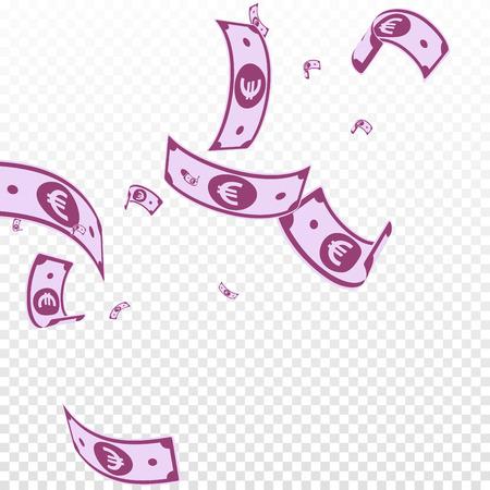 European Union Euro notes falling. Random EUR bills on transparent background. Europe money. Amusing vector illustration. Favorable jackpot, wealth or success concept.